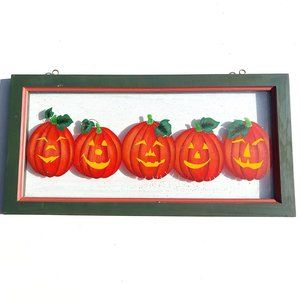 Painted Glass Wooden Framed Pumpkin Fall Decor